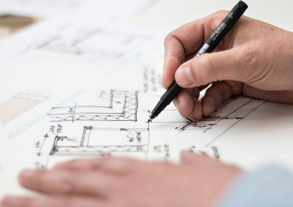 Skizze eines Bauplans.